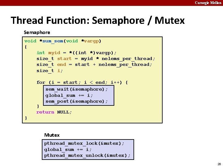Carnegie Mellon Thread Function: Semaphore / Mutex Semaphore void *sum_sem(void *vargp) { int myid