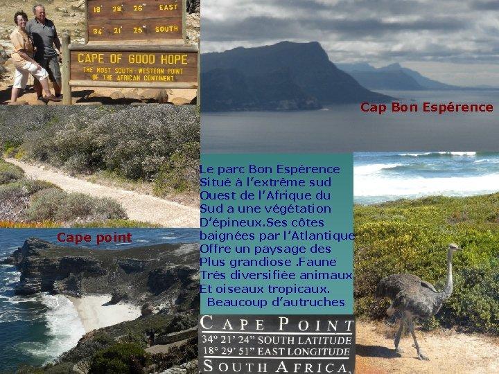 Cap Bon Espérence Cape point Le parc Bon Espérence Situé à l'extrême sud Ouest