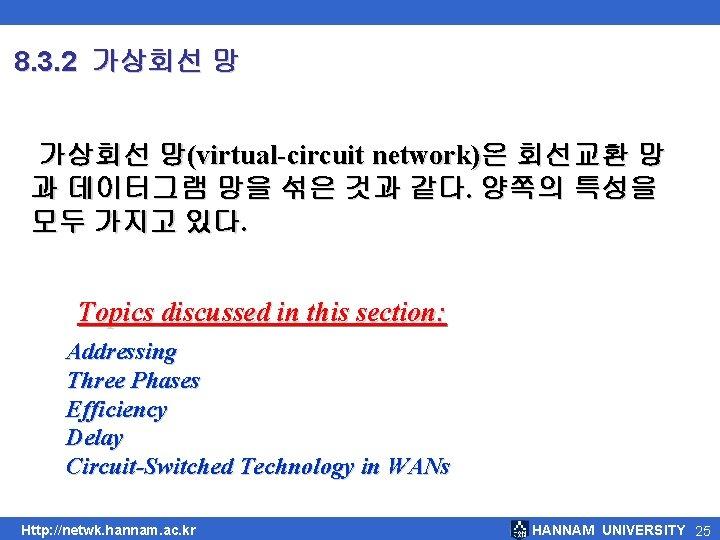 8. 3. 2 가상회선 망(virtual-circuit network)은 회선교환 망 과 데이터그램 망을 섞은 것과 같다.