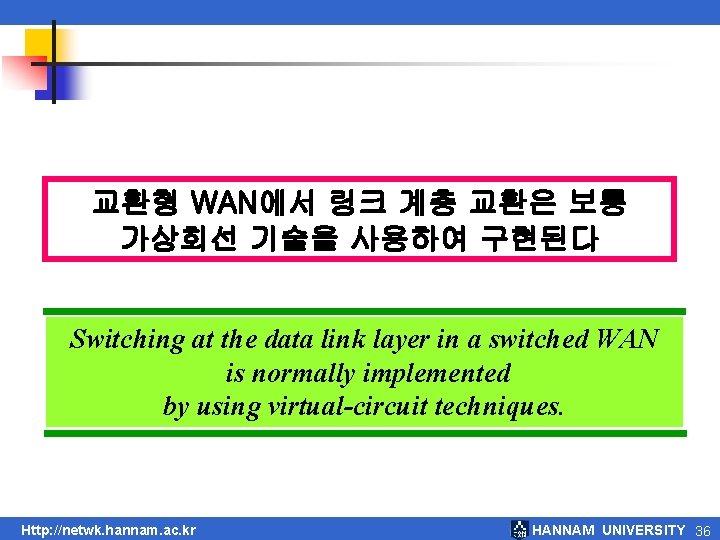 교환형 WAN에서 링크 계층 교환은 보통 가상회선 기술을 사용하여 구현된다 Switching at the data