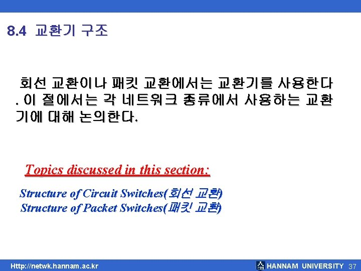 8. 4 교환기 구조 회선 교환이나 패킷 교환에서는 교환기를 사용한다. 이 절에서는 각 네트워크