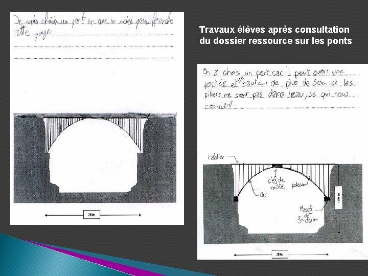 Travaux élèves après consultation du dossier ressource sur les ponts