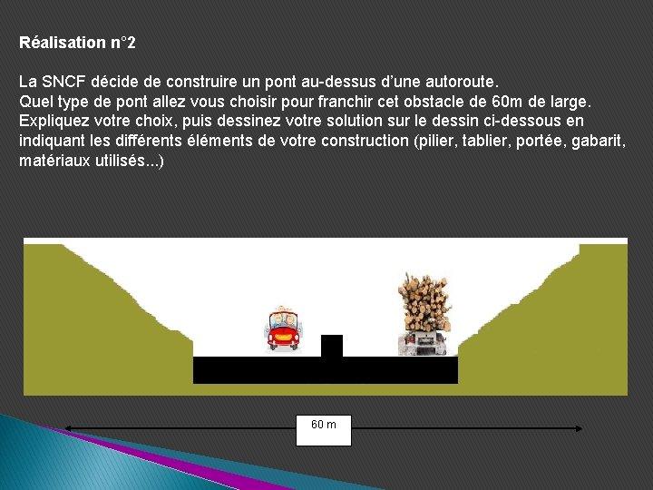 Réalisation n° 2 La SNCF décide de construire un pont au-dessus d'une autoroute. Quel