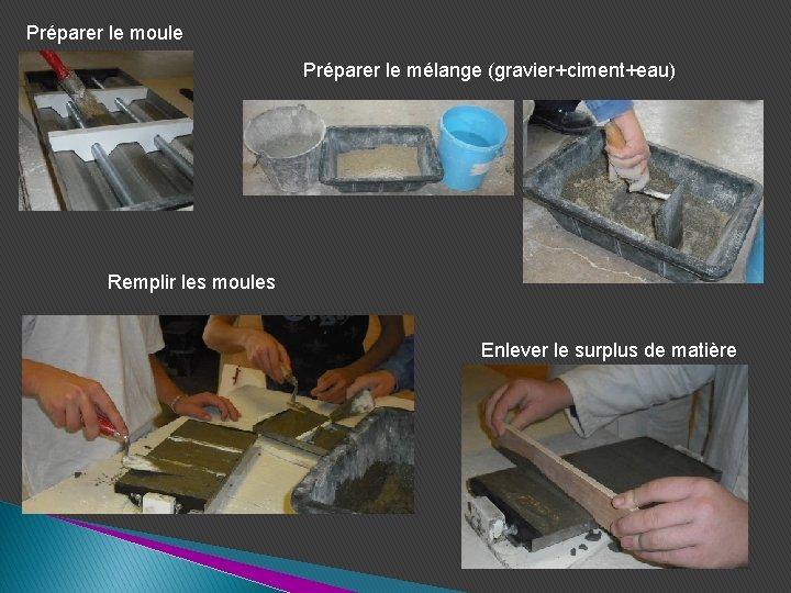 Préparer le moule Préparer le mélange (gravier+ciment+eau) Remplir les moules Enlever le surplus de
