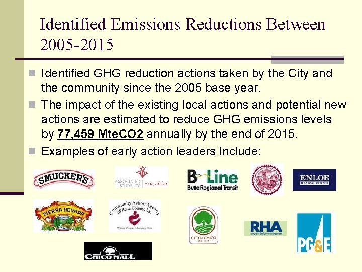 Identified Emissions Reductions Between 2005 -2015 n Identified GHG reduction actions taken by the