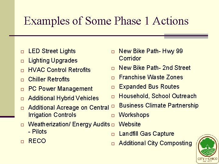 Examples of Some Phase 1 Actions New Bike Path- Hwy 99 Corridor LED Street