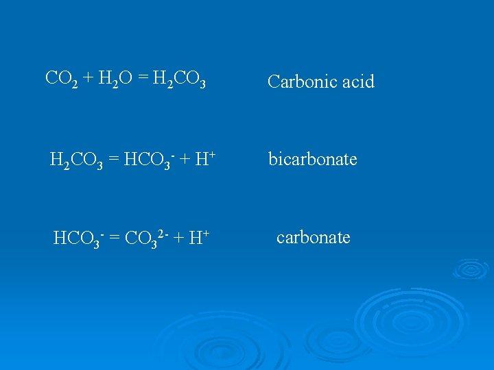 CO 2 + H 2 O = H 2 CO 3 Carbonic acid H