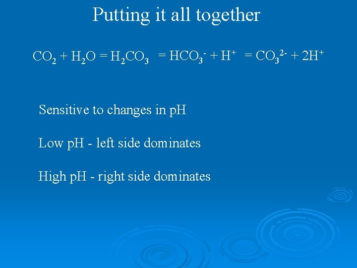 Putting it all together CO 2 + H 2 O = H 2 CO