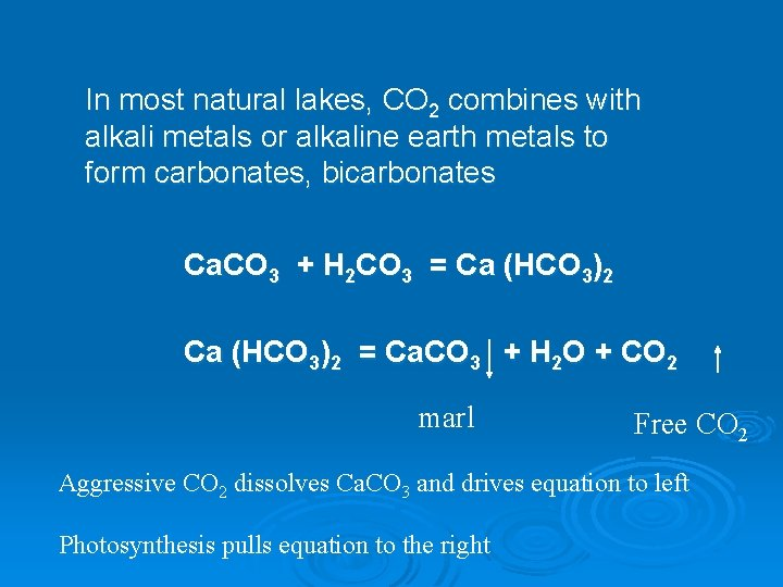 In most natural lakes, CO 2 combines with alkali metals or alkaline earth metals