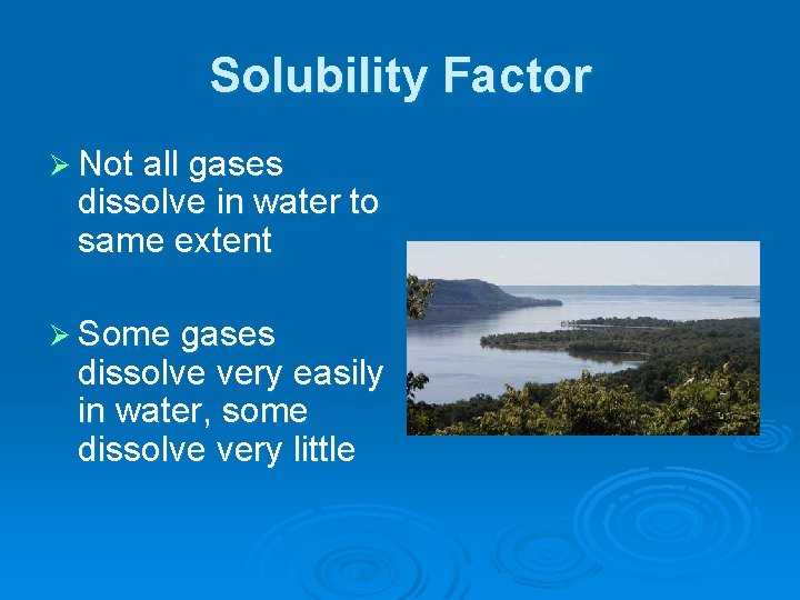 Solubility Factor Ø Not all gases dissolve in water to same extent Ø Some
