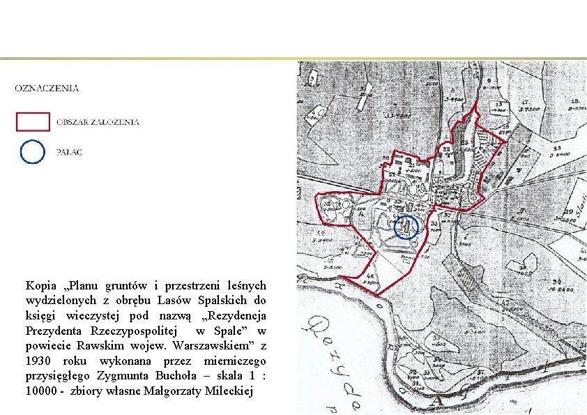 """Kopia """"Planu gruntów i przestrzeni leśnych wydzielonych z obrębu Lasów Spalskich do księgi wieczystej"""