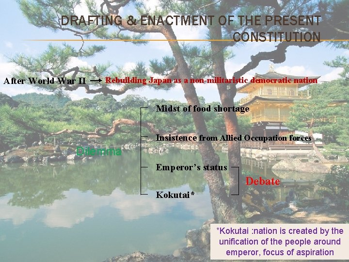 DRAFTING & ENACTMENT OF THE PRESENT CONSTITUTION After World War II Rebuilding Japan as