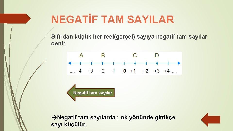 NEGATİF TAM SAYILAR Sıfırdan küçük her reel(gerçel) sayıya negatif tam sayılar denir. Negatif tam