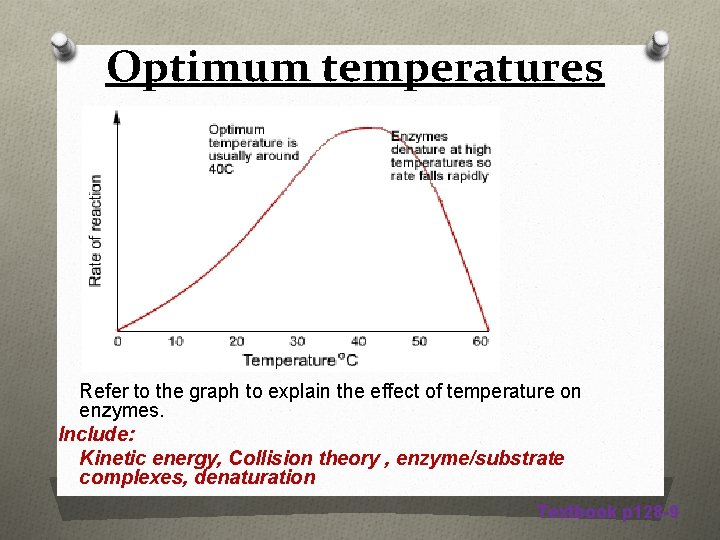Optimum temperatures Refer to the graph to explain the effect of temperature on enzymes.