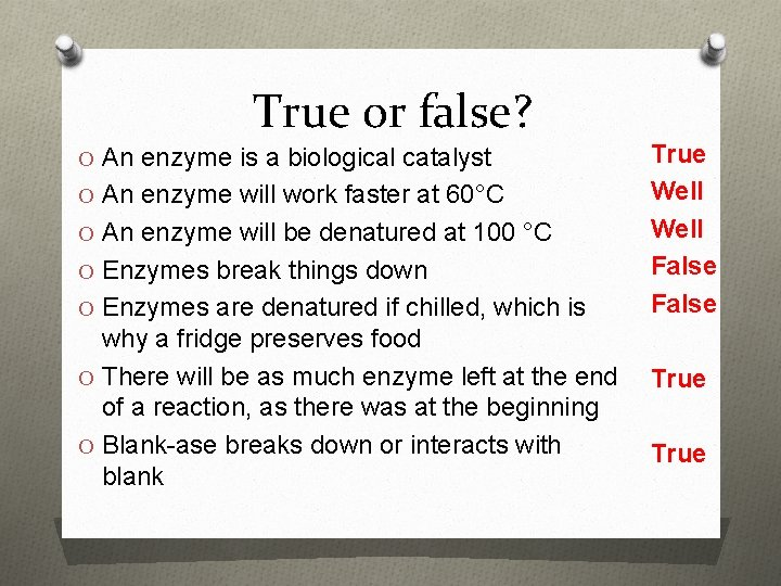 True or false? O An enzyme is a biological catalyst O An enzyme will