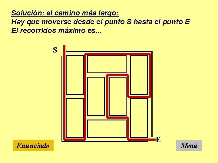 Solución: el camino más largo: Hay que moverse desde el punto S hasta el