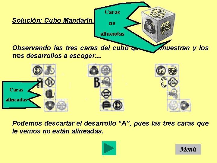 Caras Solución: Cubo Mandarín. no alineadas Observando las tres caras del cubo que nos