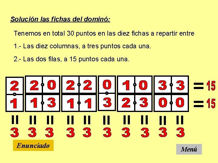 Solución las fichas del dominó: Tenemos en total 30 puntos en las diez fichas
