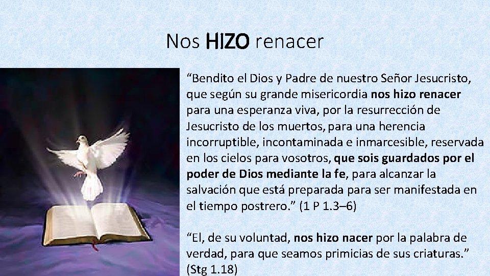 """Nos HIZO renacer """"Bendito el Dios y Padre de nuestro Señor Jesucristo, que según"""
