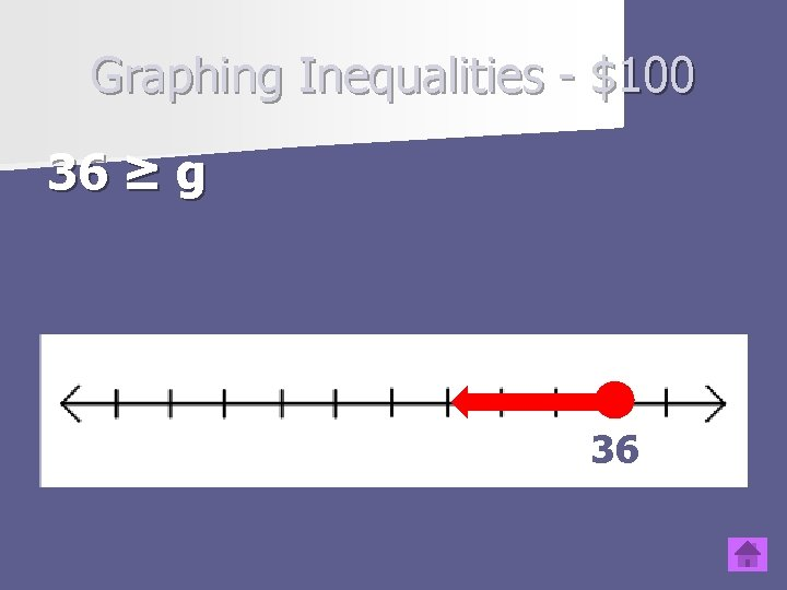 Graphing Inequalities - $100 36 ≥ g Type question to appear here 36