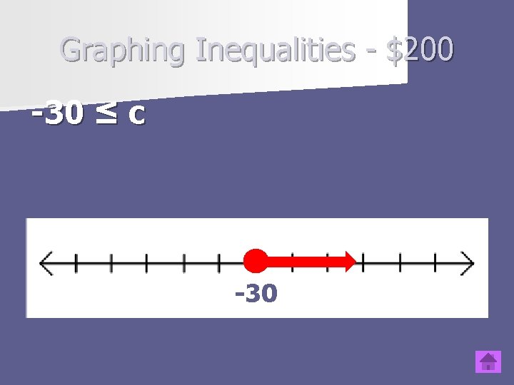 Graphing Inequalities - $200 -30 ≤ c Type question to appear here -30