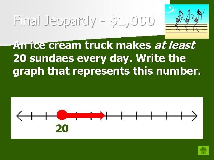 Final Jeopardy - $1, 000 An ice cream truck makes at least 20 sundaes