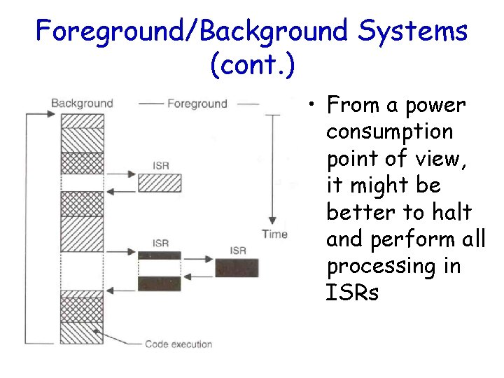 Foreground/Background Systems (cont. ) • From a power consumption point of view, it might