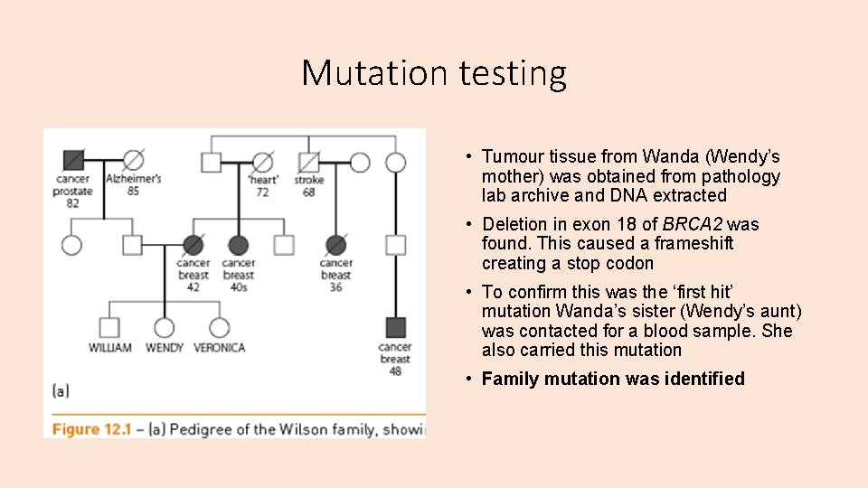 Mutation testing • Tumour tissue from Wanda (Wendy's mother) was obtained from pathology lab
