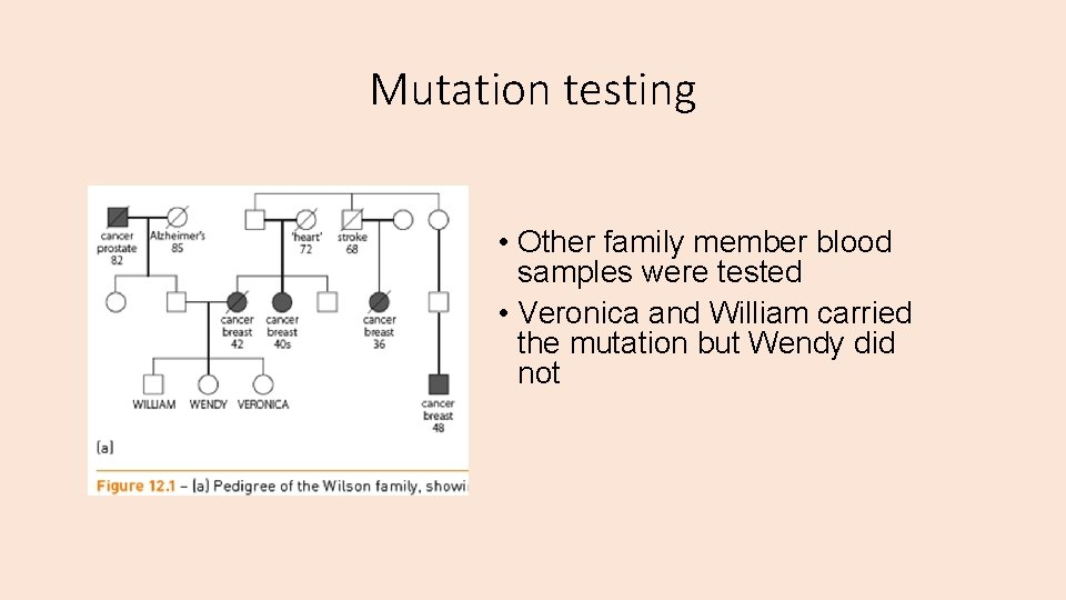 Mutation testing • Other family member blood samples were tested • Veronica and William