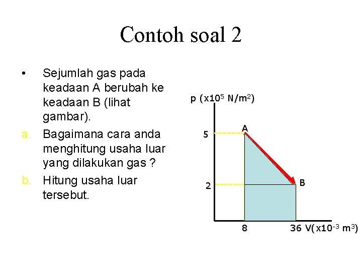 Contoh soal 2 • Sejumlah gas pada keadaan A berubah ke keadaan B (lihat