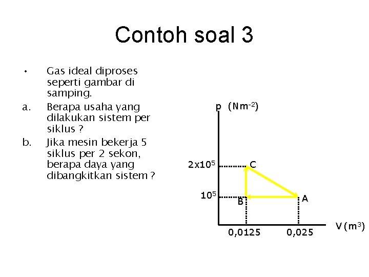 Contoh soal 3 • a. b. Gas ideal diproses seperti gambar di samping. Berapa