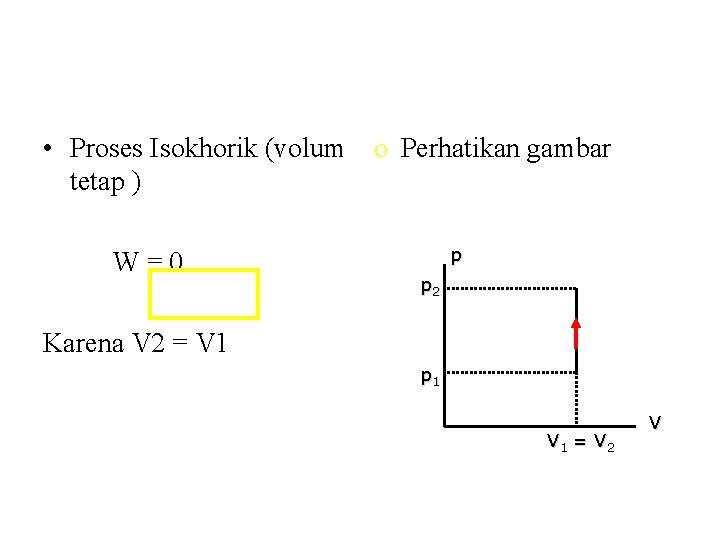 • Proses Isokhorik (volum o Perhatikan gambar tetap ) W=0 p p 2