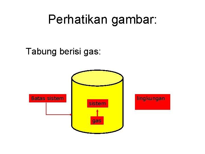 Perhatikan gambar: Tabung berisi gas: Batas sistem gas lingkungan