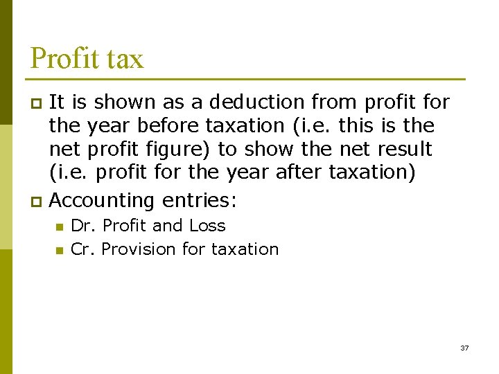 Profit tax It is shown as a deduction from profit for the year before