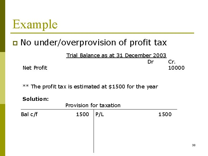 Example p No under/overprovision of profit tax Net Profit Trial Balance as at 31