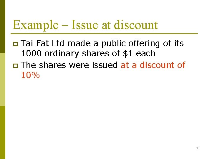 Example – Issue at discount Tai Fat Ltd made a public offering of its