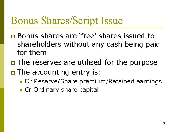 Bonus Shares/Script Issue Bonus shares are 'free' shares issued to shareholders without any cash