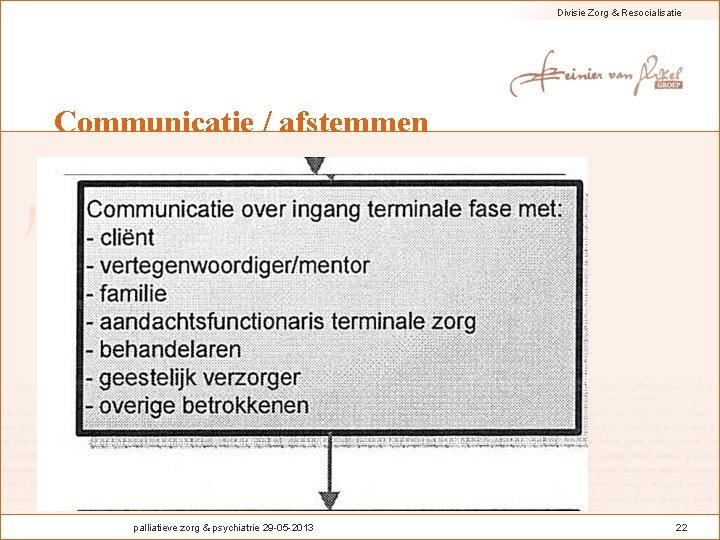 Divisie Zorg & Resocialisatie Communicatie / afstemmen palliatieve zorg & psychiatrie 29 -05 -2013