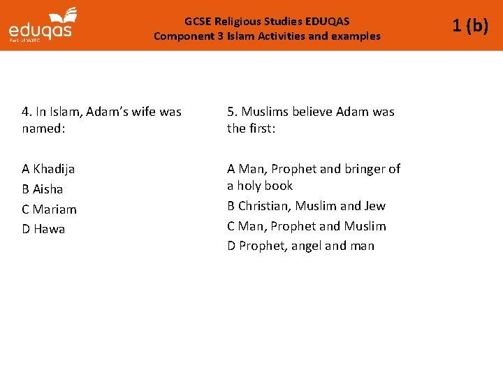 GCSE Religious Studies EDUQAS Component 3 Islam Activities and examples 4. In Islam, Adam's