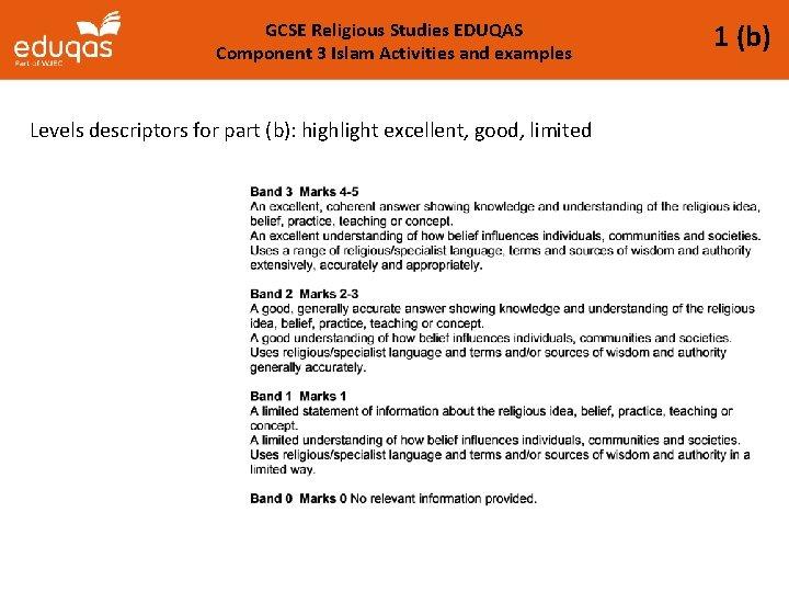 GCSE Religious Studies EDUQAS Component 3 Islam Activities and examples Levels descriptors for part