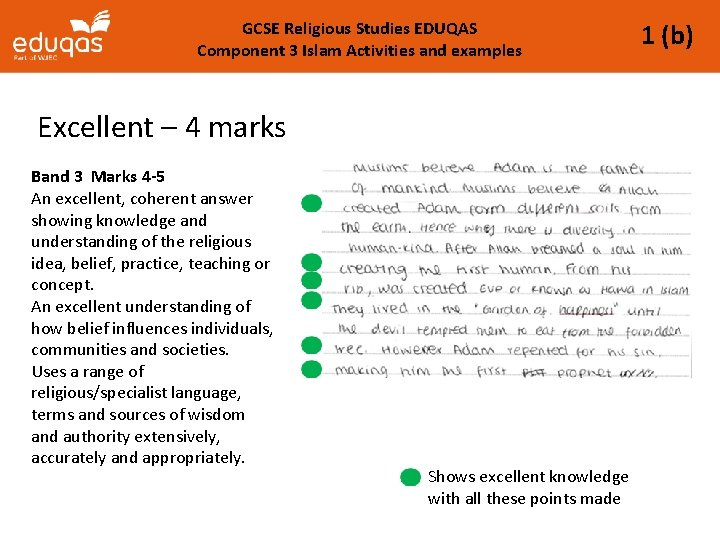 GCSE Religious Studies EDUQAS Component 3 Islam Activities and examples Excellent – 4 marks