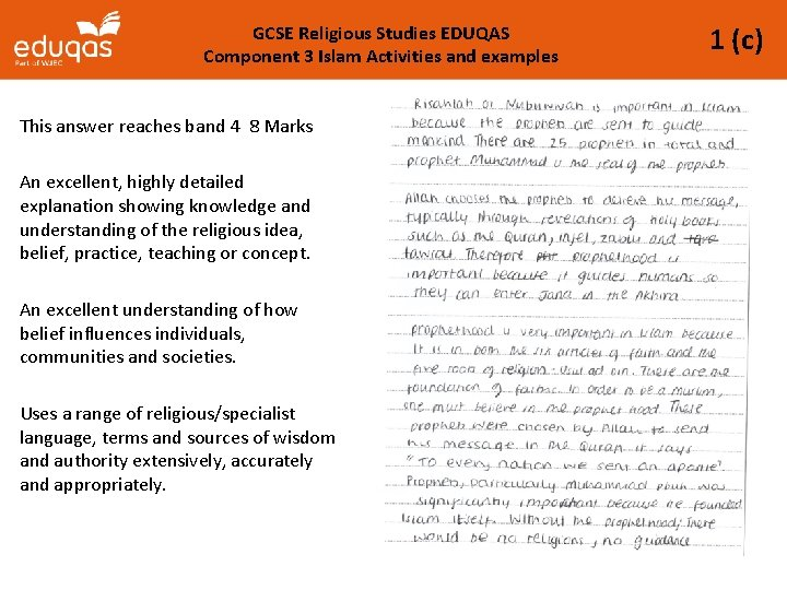 GCSE Religious Studies EDUQAS Component 3 Islam Activities and examples This answer reaches band