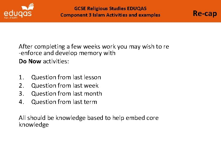 GCSE Religious Studies EDUQAS Component 3 Islam Activities and examples After completing a few