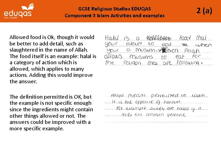 GCSE Religious Studies EDUQAS Component 3 Islam Activities and examples Allowed food is Ok,