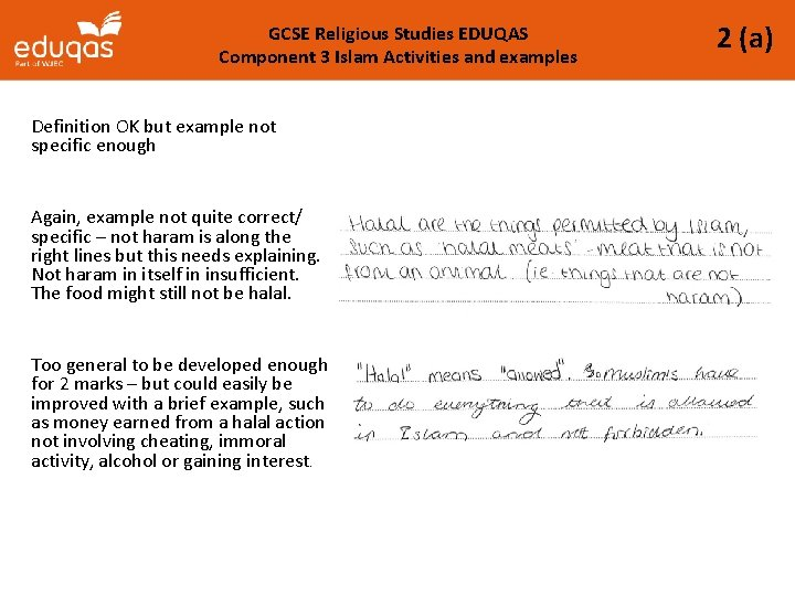 GCSE Religious Studies EDUQAS Component 3 Islam Activities and examples Definition OK but example