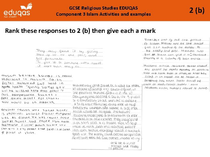 GCSE Religious Studies EDUQAS Component 3 Islam Activities and examples Rank these responses to