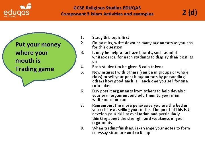 GCSE Religious Studies EDUQAS Component 3 Islam Activities and examples Put your money where