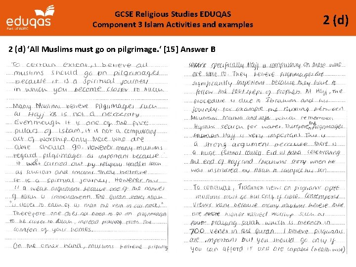 GCSE Religious Studies EDUQAS Component 3 Islam Activities and examples 2 (d) 'All Muslims