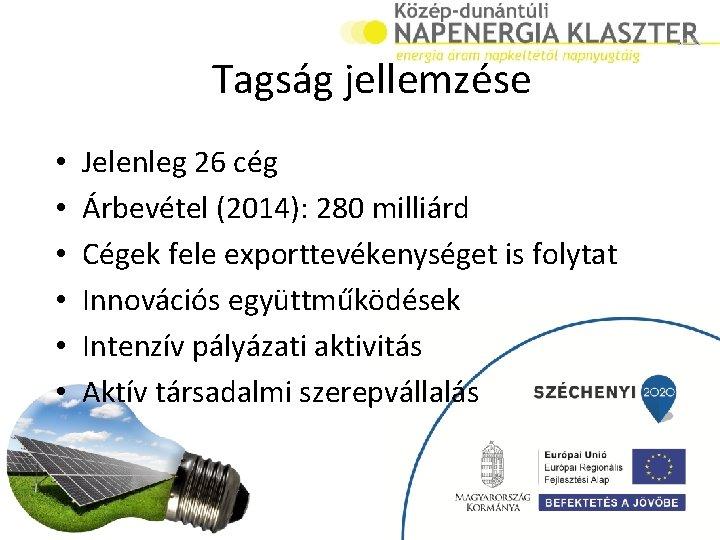 Tagság jellemzése • • • Jelenleg 26 cég Árbevétel (2014): 280 milliárd Cégek fele