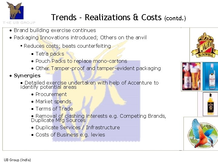 Trends - Realizations & Costs (contd. ) • Brand building exercise continues • Packaging